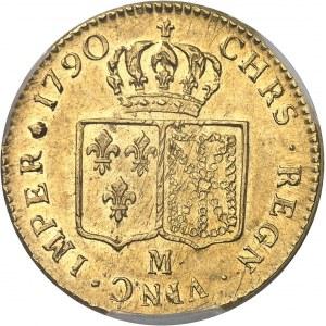 Louis XVI (1774-1792). Double louis d'or à la tête nue 1790, 1er semestre, M, Toulouse.