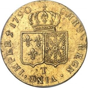 Louis XVI (1774-1792). Double louis d'or à la tête nue 1790, 1er semestre, T, Nantes.