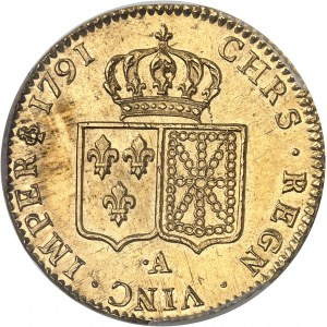 Louis XVI (1774-1792). Double louis d'or à la tête nue 1791, 2e semestre, ·A, Paris.