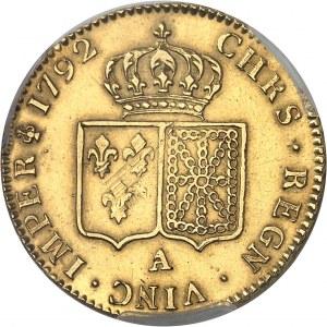 Louis XVI (1774-1792). Double louis d'or à la tête nue 1792, 2e semestre, A, Paris.