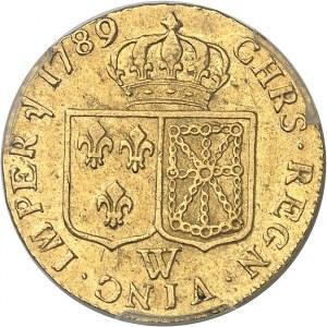 Louis XVI (1774-1792). Louis d'or à la tête nue 1789, 2e semestre, W, Lille.