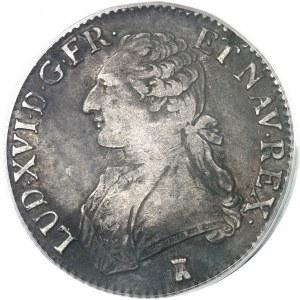 Louis XVI (1774-1792). Écu aux rameaux d'olivier 1777, T, Nantes.