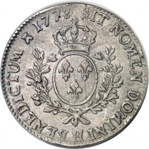 Louis XVI (1774-1792). Écu aux rameaux d'olivier 1778, H, La Rochelle.