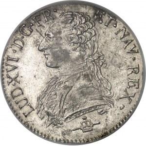 Louis XVI (1774-1792). Écu aux rameaux d'olivier 1783, B, Rouen.