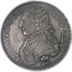 Louis XVI (1774-1792). Écu aux rameaux d'olivier 1784, K, Bordeaux (K inversé).