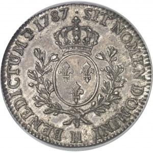 Louis XVI (1774-1792). Écu aux rameaux d'olivier 1787, H, La Rochelle.