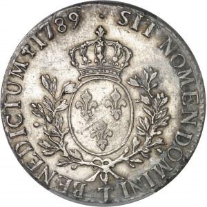 Louis XVI (1774-1792). Écu aux rameaux d'olivier 1789, T, Nantes.