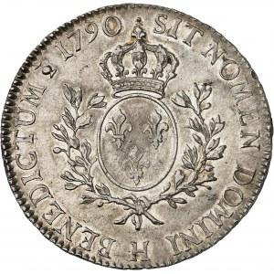 Louis XVI (1774-1792). Écu aux rameaux d'olivier 1790, H, La Rochelle.