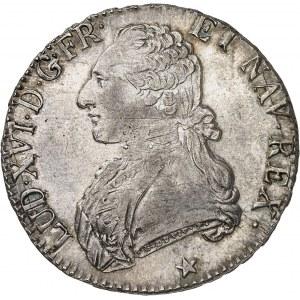 Louis XVI (1774-1792). Écu aux rameaux d'olivier 1790, W, Lille.