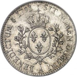 Louis XVI (1774-1792). Écu aux rameaux d'olivier 1791, 2e semestre, ·A, Paris.