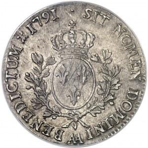 Louis XVI (1774-1792). Écu aux rameaux d'olivier 1791, 1er semestre, AA, Metz.