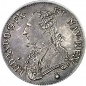 Louis XVI (1774-1792). Écu aux rameaux d'olivier 1791, 2e semestre, AA, Metz.