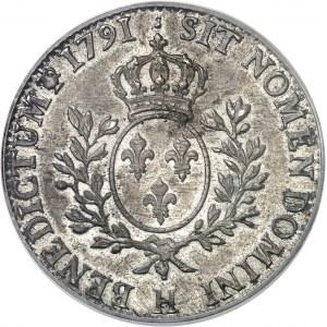Louis XVI (1774-1792). Écu aux rameaux d'olivier 1791, H, La Rochelle.