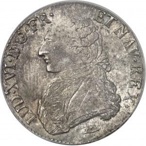 Louis XVI (1774-1792). Écu aux rameaux d'olivier 1791, N, Montpellier.