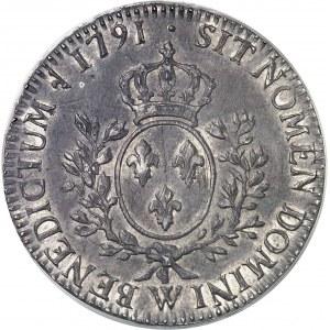 Louis XVI (1774-1792). Écu aux rameaux d'olivier 1791, 2e semestre, W, Lille.