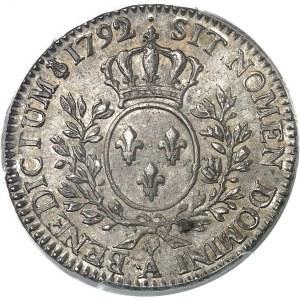 Louis XVI (1774-1792). Demi-écu aux rameaux d'olivier 1792/1, ·A, Paris.