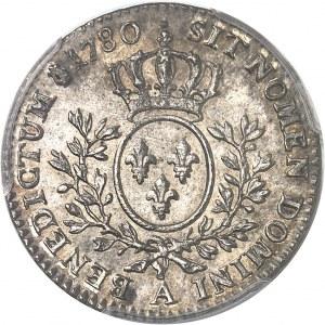 Louis XVI (1774-1792). Cinquième d'écu aux rameaux d'olivier 1780, 2e semestre, A, Paris.