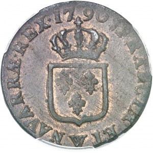 Louis XVI (1774-1792). Sol 1790, W, Lille.