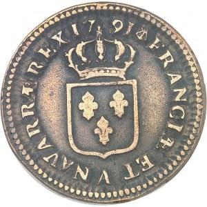 Louis XVI (1774-1792). Sol, frappe sur un flan de 2 sols 1791, 2e semestre, A, Paris.