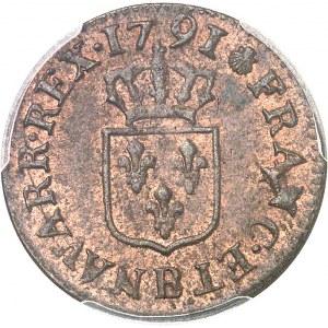 Louis XVI (1774-1792). Liard 1791, 1er semestre, B, Rouen.