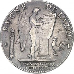 Constitution (1791-1792). Écu de 6 livres FRANÇOIS 1792, 1er semestre, T, Nantes.