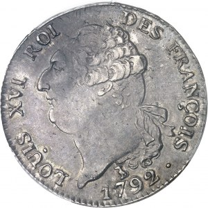 Constitution (1791-1792). Écu de 6 livres FRANÇOIS 1792, 2e semestre, T, Nantes.