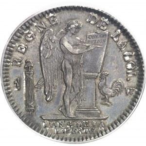 Constitution (1791-1792). Écu de 6 livres FRANÇOIS 1792, 1er semestre, W, Lille (petit W).