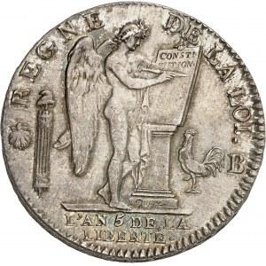 Constitution (1791-1792). Écu de 6 livres FRANÇOIS 1793, B, Rouen.