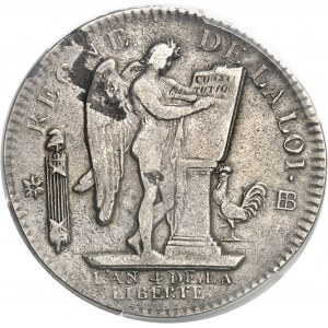 Constitution (1791-1792). Écu de 6 livres FRANÇAIS 1792, 2e semestre, BB, Strasbourg.