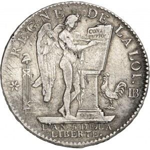 Constitution (1791-1792). Écu de 6 livres FRANÇAIS 1793, BB, Strasbourg.
