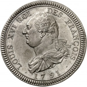 Constitution (1791-1792). Essai de l'écu de 6 livres FRANÇOIS, concours de Dupré 1791 - An 2, Paris.