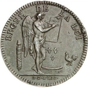 Constitution (1791-1792). Épreuve de l'écu de 6 livres FRANÇOIS, hors concours de Lorthior 1791, Paris.