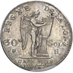 Constitution (1791-1792). 30 sols FRANÇOIS 1792, H, La Rochelle.