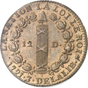 Constitution (1791-1792). 12 deniers FRANÇOIS 1791, A, Paris.