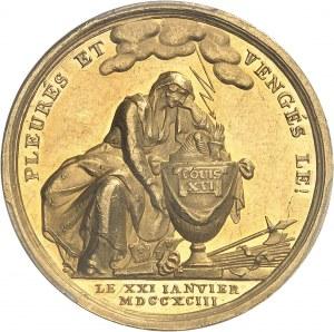 Constitution (1791-1792). Jeton sur la mort du Roi Louis XVI par Frédéric Loos 1793 (après 1794), Berlin.