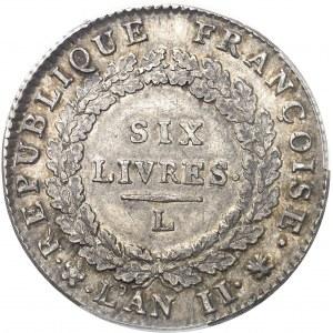 Convention (1792-1795). Écu de 6 livres FRANÇOISE 1793, L, Bayonne.