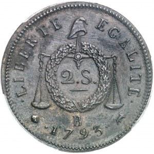 Convention (1792-1795). Deux sols à la balance daté, refrappe 1793, B, Rouen.