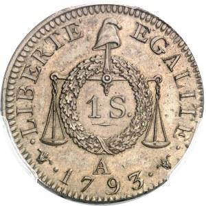 Convention (1792-1795). Sol à la balance FRANÇAISE, prototype 1793, A, Paris.