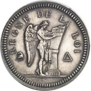 Convention (1792-1795). Essai au module de 2 sols en argent, grand module 1792, Paris.