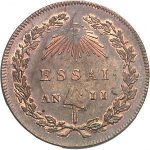 Convention (1792-1795). Essai au module de 2 sols à la République par Bernier An II (1793), Paris.