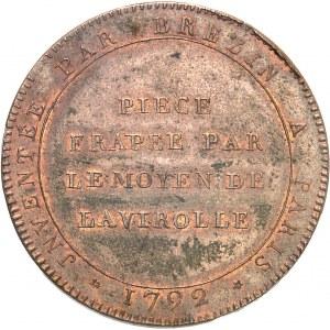 Convention (1792-1795). Essai au module de 2 sols au caducée par Brézin 1792, Paris.