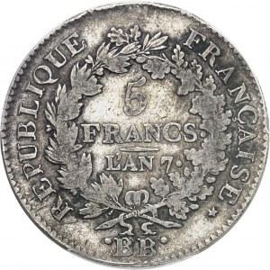 Directoire (1795-1799). 5 francs Union et Force An 7, BB, Strasbourg.