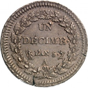 Directoire (1795-1799). Un décime Dupré An 5, A, Paris.