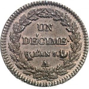 Directoire (1795-1799). Un décime Dupré An 7/5 - coq sur corne, A/B, Paris.