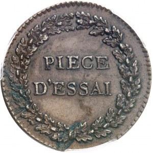 Directoire (1795-1799). Essai au module de cinq centimes par Dupré ND (c.1796), Paris.