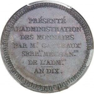 Consulat (1799-1804). Essai de frappe en virole pleine, au module de 5 francs, par Gatteaux AN 10 (1801), Paris.