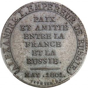 Consulat (1799-1804). Essai monétaire à l'amitié entre la France et la Russie, au module de 2 francs, par Tiolier 1801, Paris.