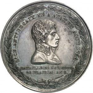 Consulat (1799-1804). Médaille, mort du général Desaix lors de la bataille de Marengo An 8 (1800), Paris.