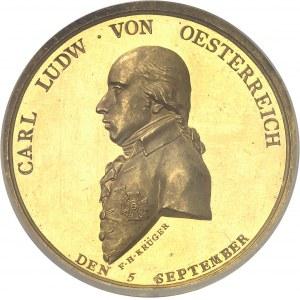 Consulat (1799-1804). Médaille d'Or, Traité de Paix de Lunéville entre l'Autriche et la France par F. H. Krüger 1801, Dresde ?