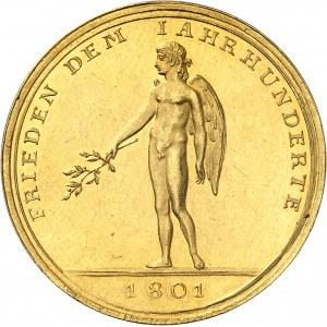 Consulat (1799-1804). Médaille d'Or (aussi Demi-portugalöser de 5 ducats) pour la Paix de Lunéville, par Abraham Abramson 1801, Berlin.